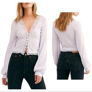 Free People Lilac Crop Top Medium NWT
